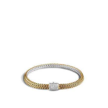 Classic Chain 5MM Reversible Bracelet, Silver, 18K, Diamonds