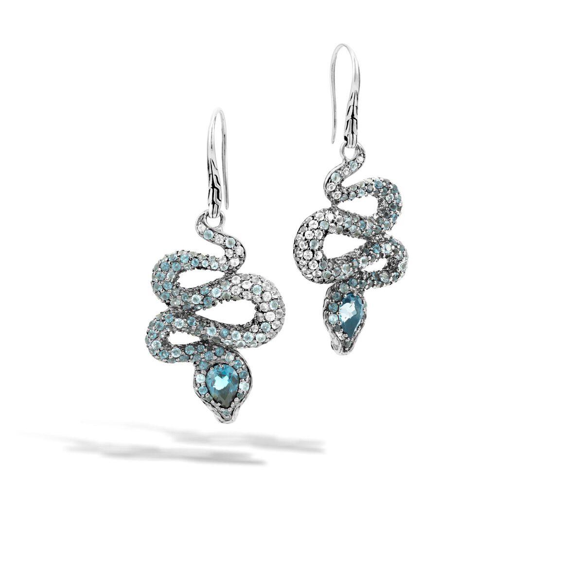 Legends Cobra Drop Earring in Silver, Gemstone, Diamonds