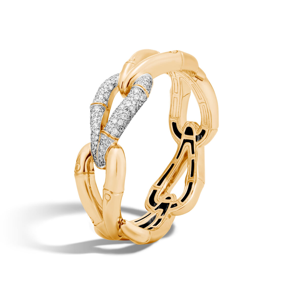 Bamboo 23MM Hinged Bangle in 18K Gold with Diamonds