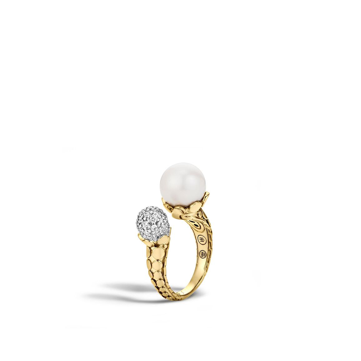 Dot Ring in 18K Gold with 11MM Pearl and Diamonds