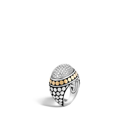Dot Dome Ring in Silver and 18K Gold with Diamonds