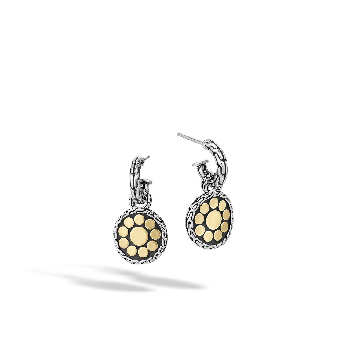 Dot Drop Earring in Silver and 18K Gold