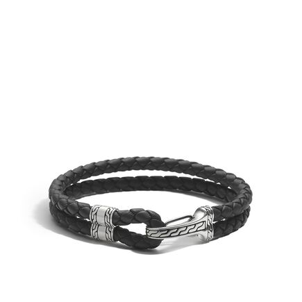 Classic Chain Station Bracelet in Silver and Leather