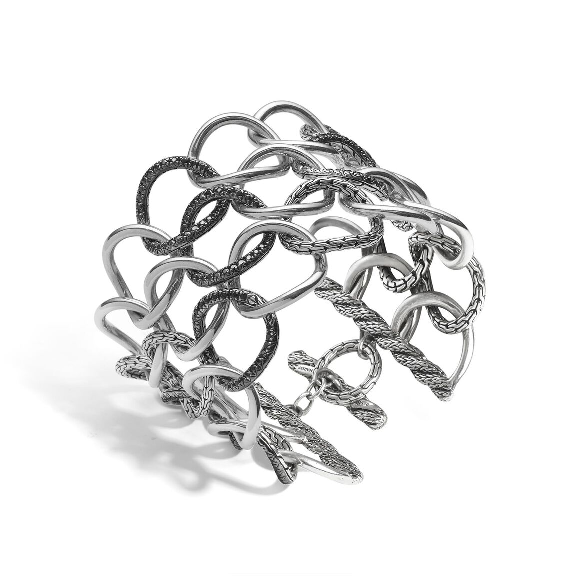 Classic Chain Open Link Bracelet in Silver with Gemstone