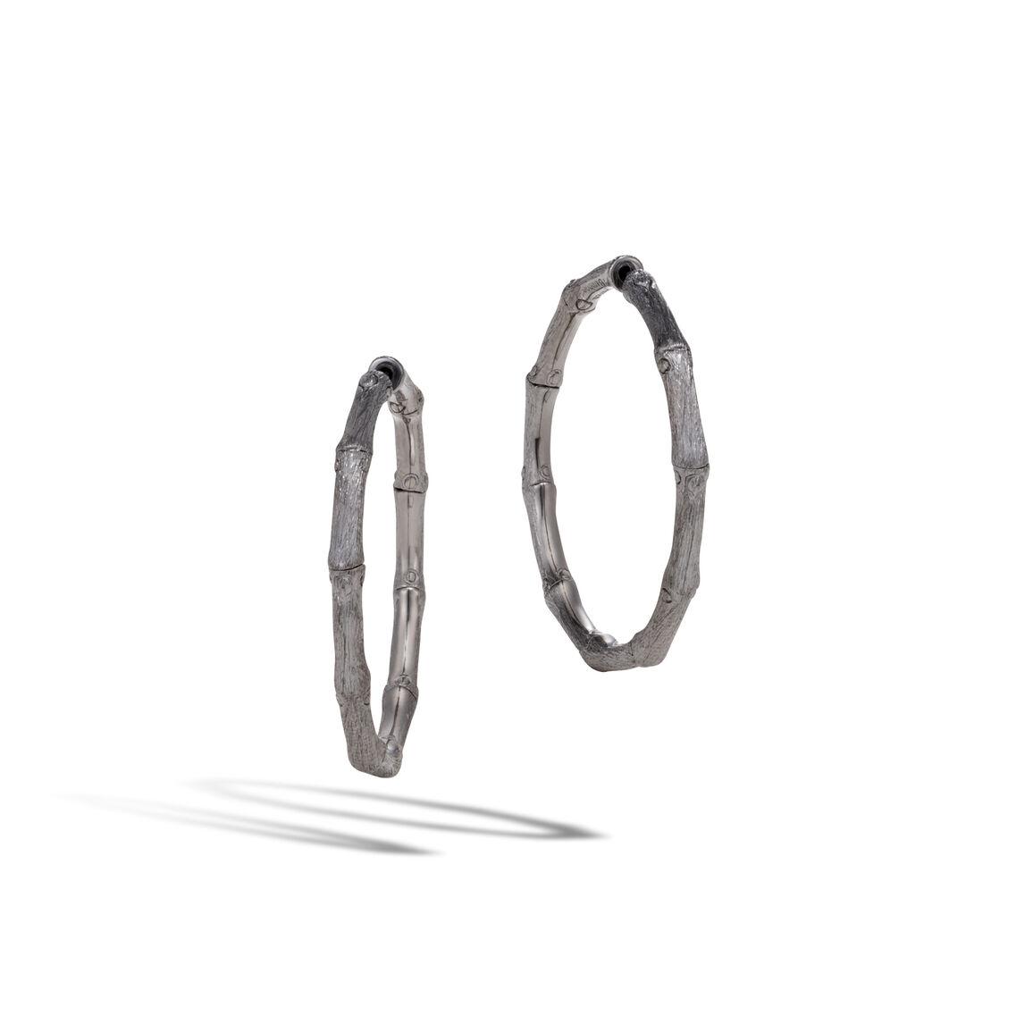 Bamboo Medium Hoop Earring in Blackened Brushed Silver