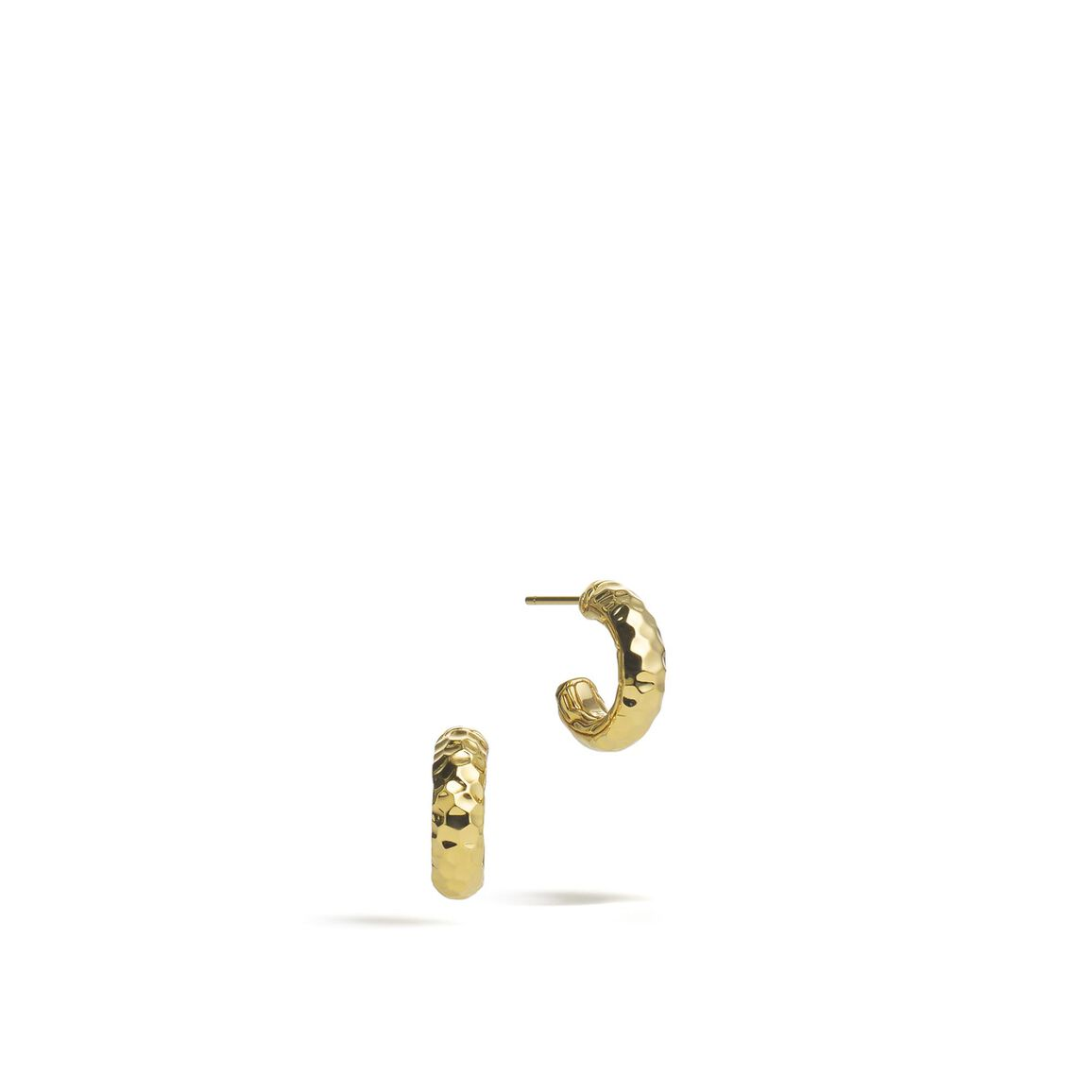 Classic Chain Extra Small Hoop Earring in Hammered 18K Gold