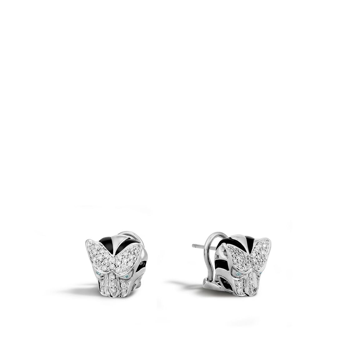 Legends Macan Button Earring in Silver with Diamonds