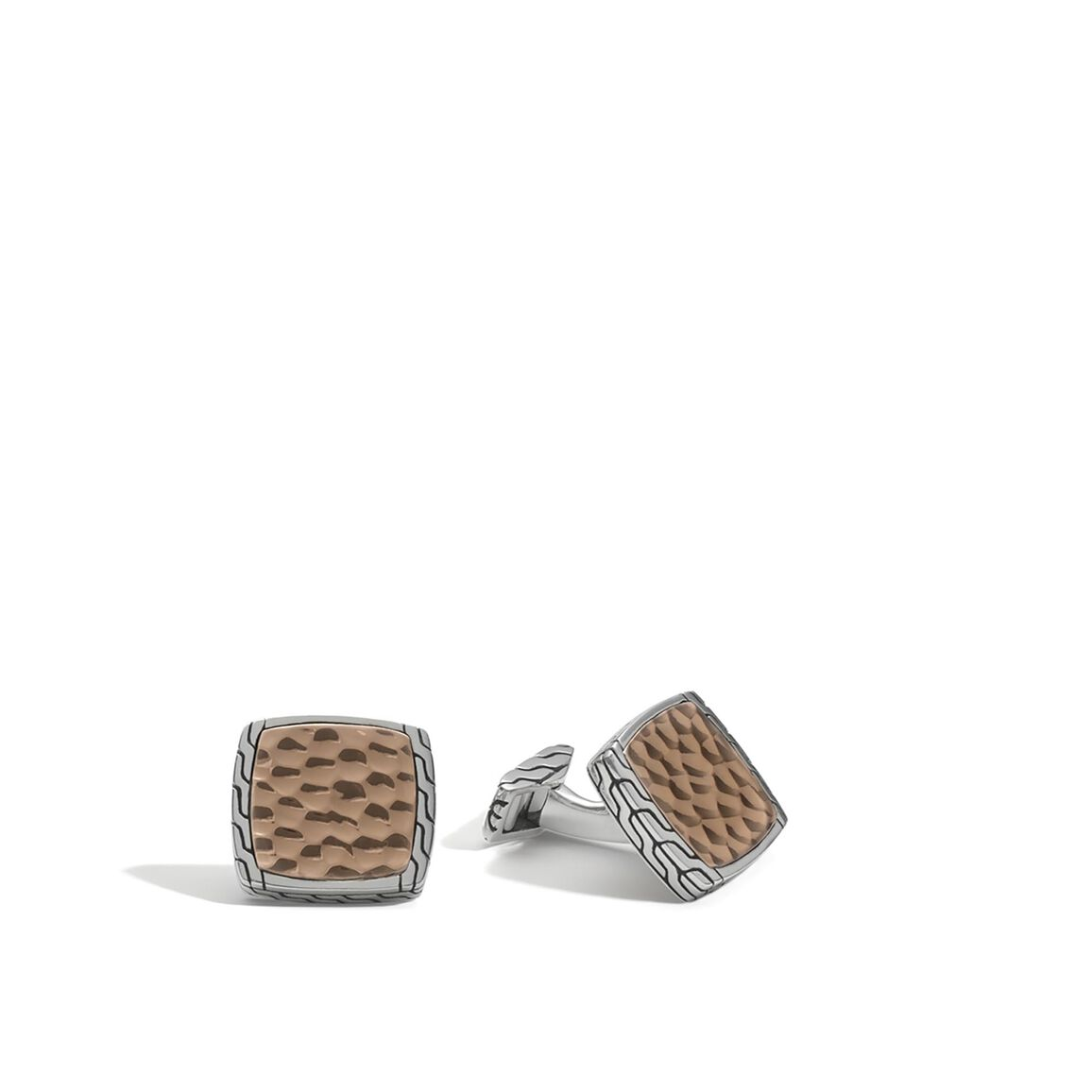 Classic Chain Square Cufflinks in Silver and Hammered Bronze