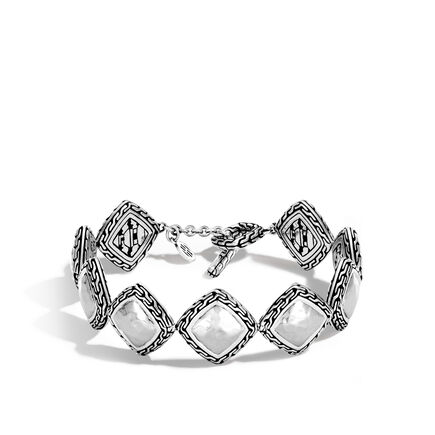 Classic Chain Link Bracelet in Hammered Silver