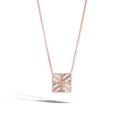 Modern Chain Necklace in 18K Rose Gold with Diamonds