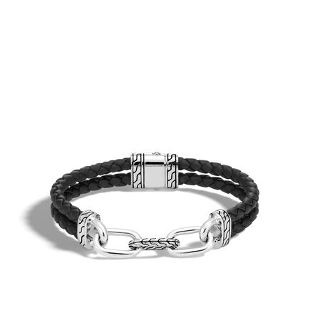 Classic Chain 11MM Link Bracelet in Silver and Leather