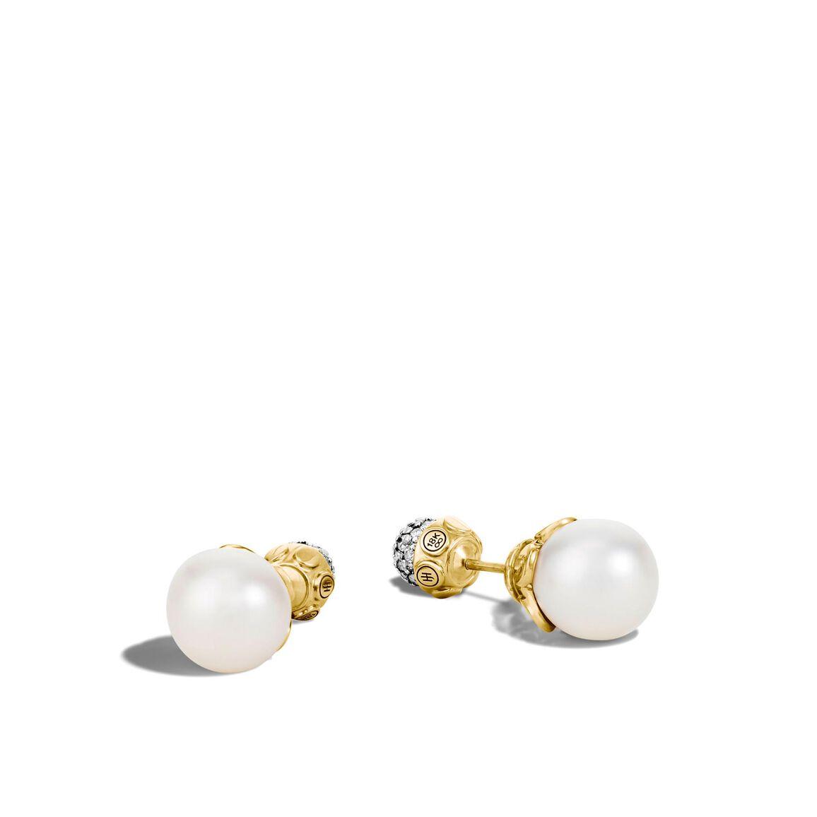 Dot Reversible Stud Earring, 18K Gold, 11MM Pearl, Diamonds