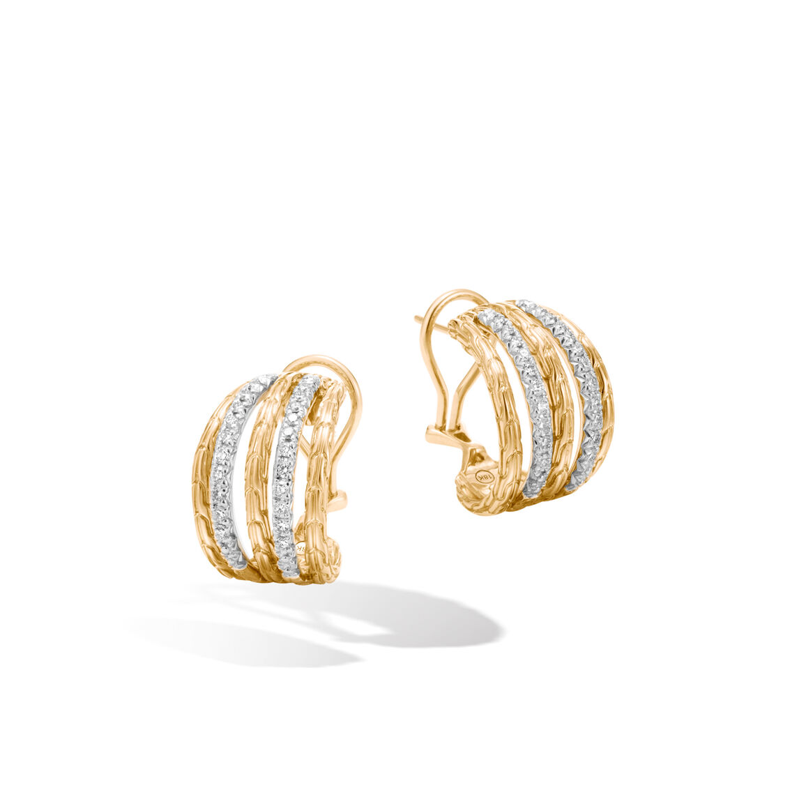 Classic Chain Buddha Belly Earrings in 18K Gold with Diamond