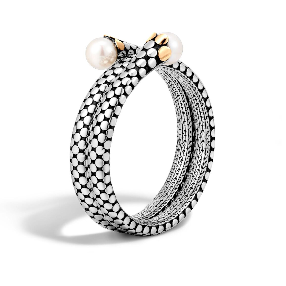 Dot Double Coil Bracelet in Silver and 18K Gold, 11MM Pearl