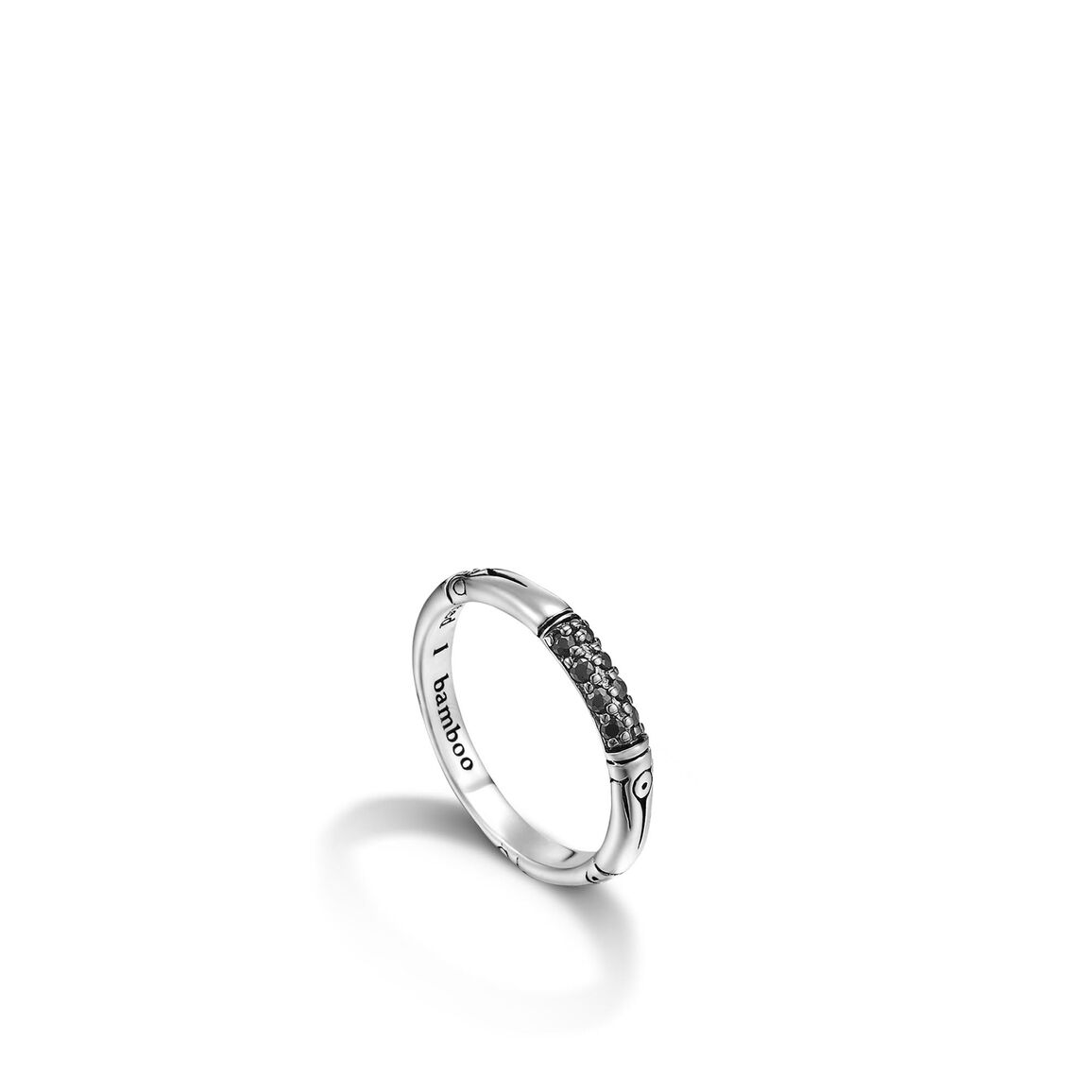Bamboo 3.5MM Band Ring in Silver with Gemstone