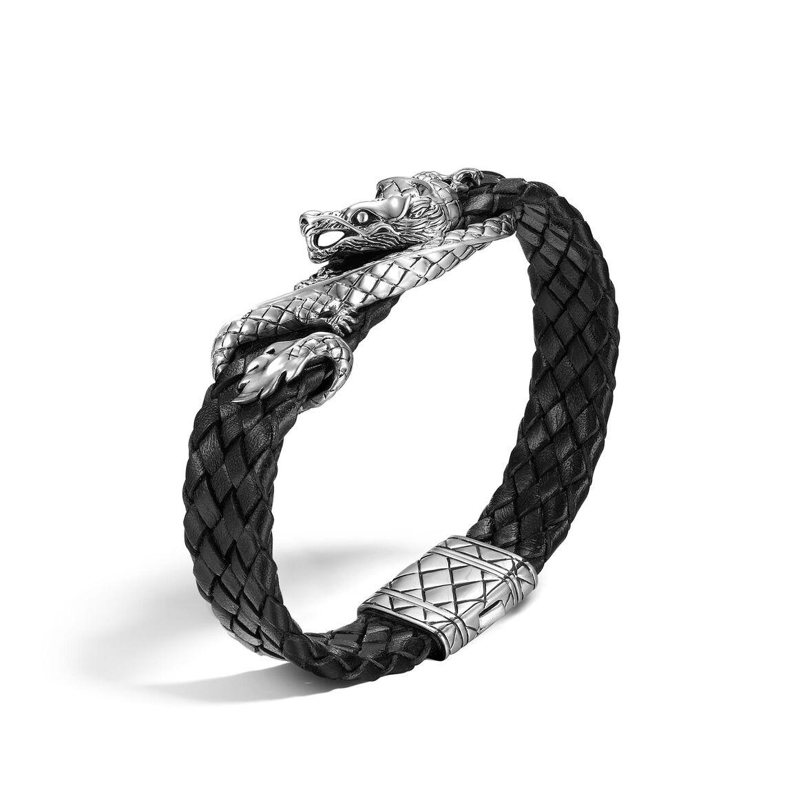 Legends Naga 14.5MM Station Bracelet in Silver and Leather