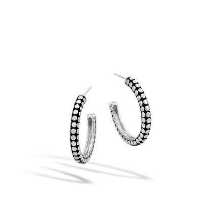 Dot Medium Hoop Earring in Silver