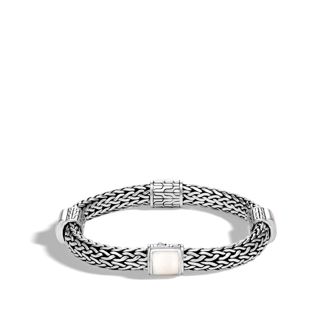 Classic Chain 7.5MM Bracelet in Silver with Gemstone