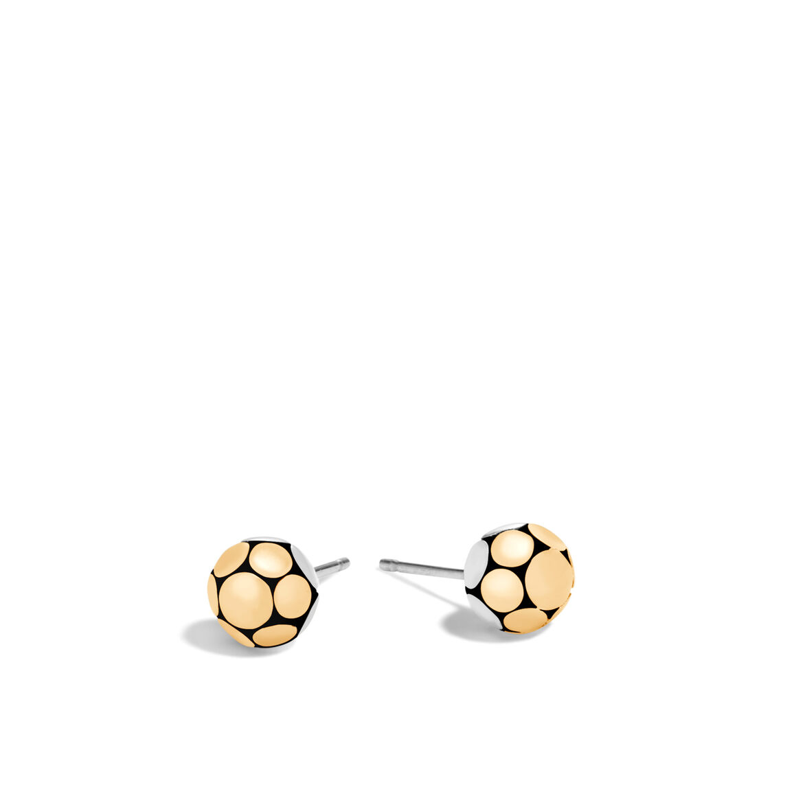 Dot Stud Earring in Silver and Hammered 18K Gold