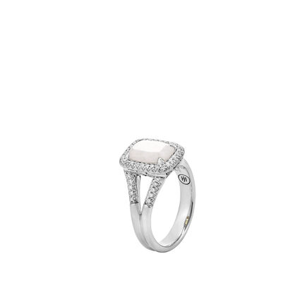 Classic Chain Magic Cut Ring, Silver, 10x7MM Gems, Diamonds