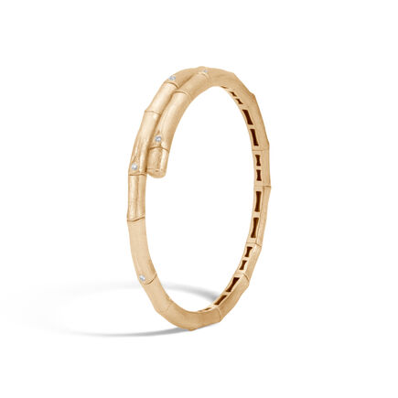 Bamboo Single Coil Bracelet in Brushed 18K Gold, Diamonds