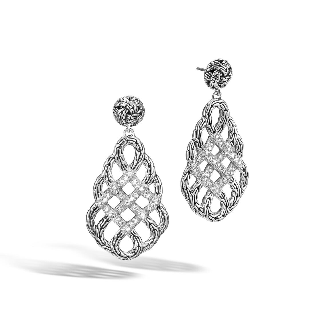 Classic Chain Woven Braided Saddle Drop Earrings