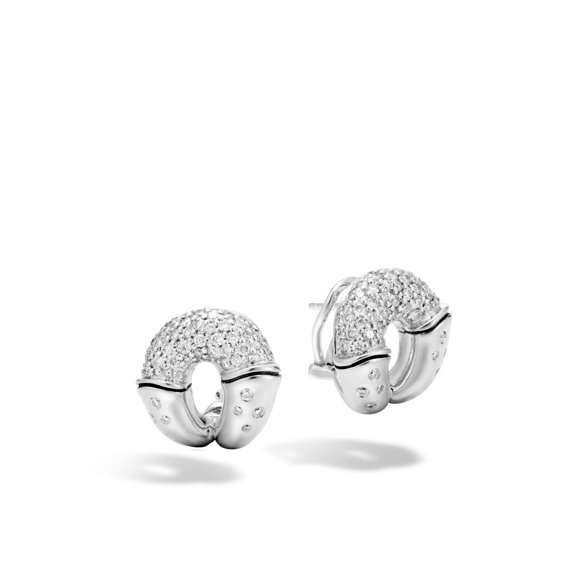 Bamboo Buddha Belly Earring in Silver with Diamonds
