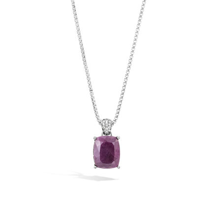 Magic Cut Pendant Necklace with Indian Ruby and Diamonds