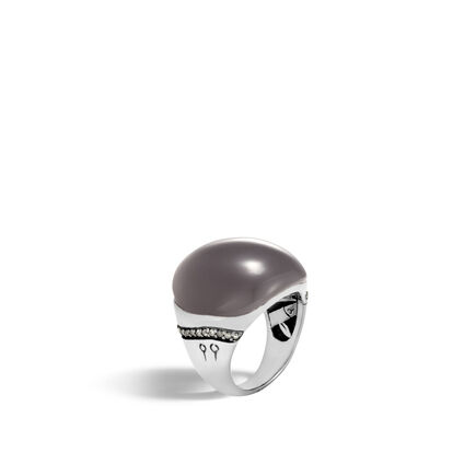 Bamboo Ring in Silver with 22x21MM Gemstone and Diamonds