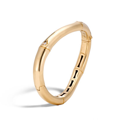 Bamboo 9MM Curved Hinged Bangle in 18K Gold with Diamonds