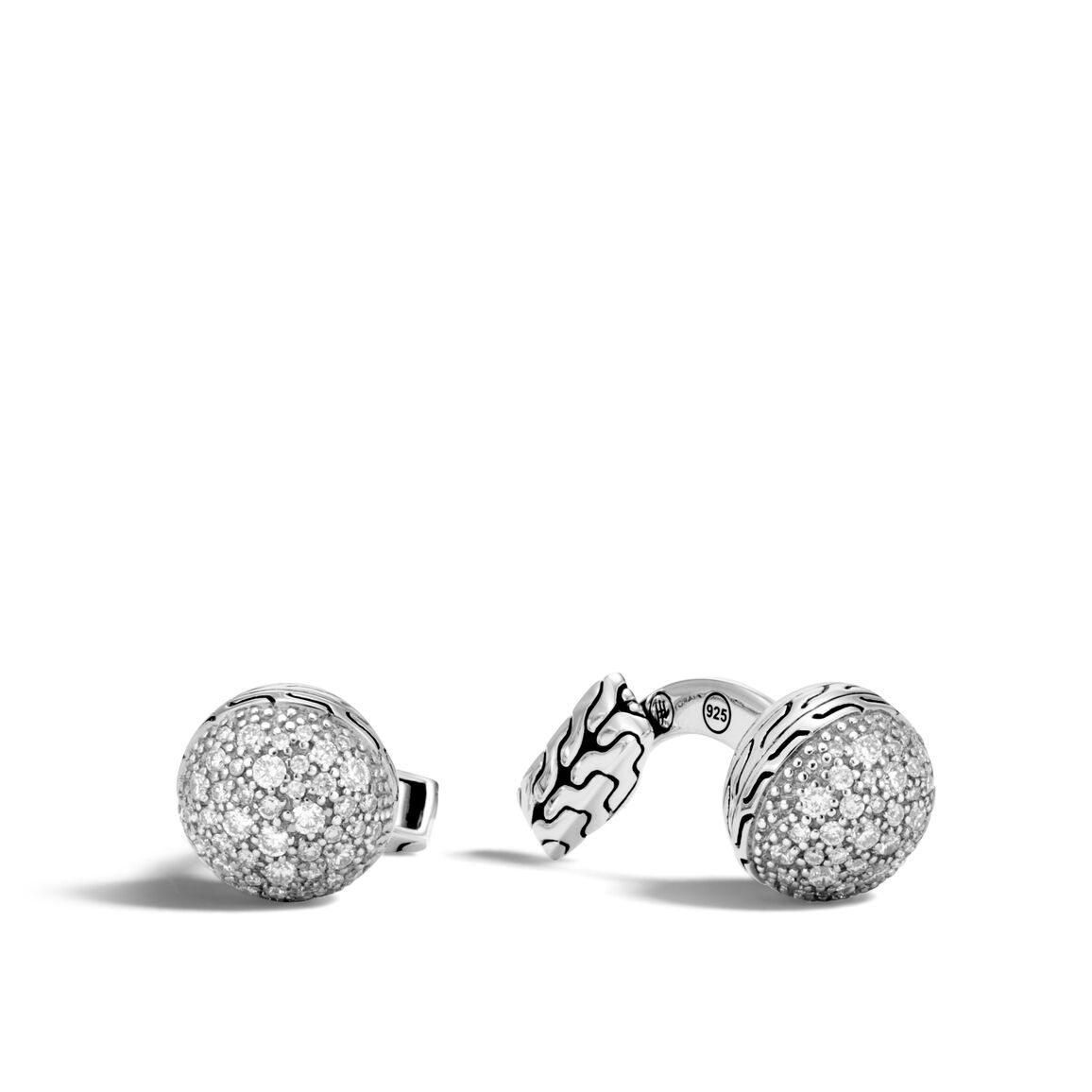 Classic Chain Ball Cufflinks in Silver with Gemstone
