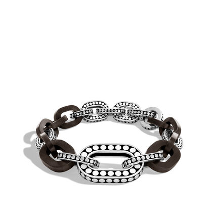 Dot Graduated Link Bracelet in Silver and Wood