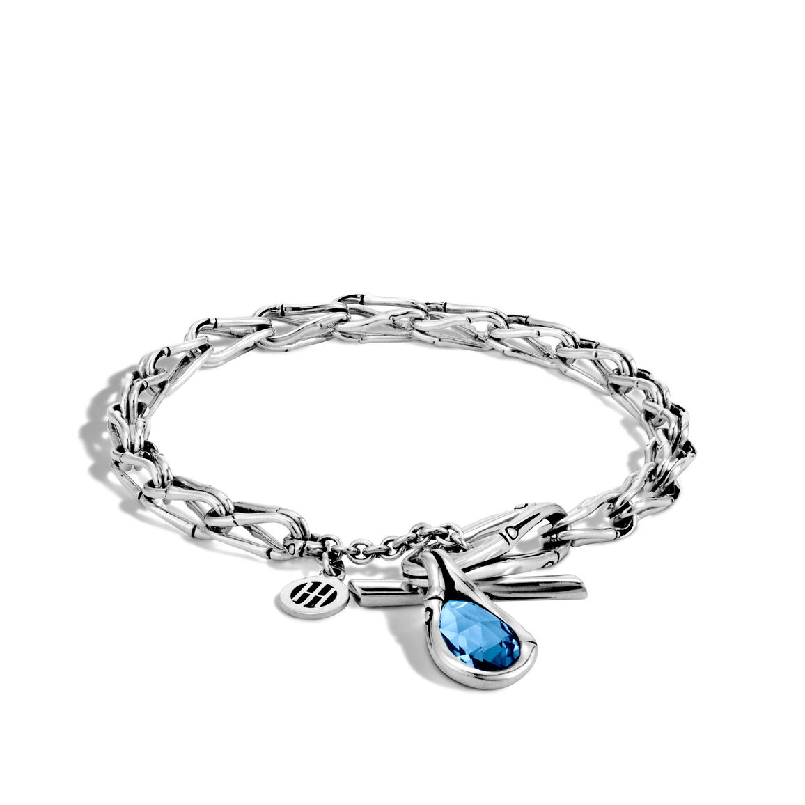 Bamboo 5MM Charm Bracelet in Silver with Gemstone
