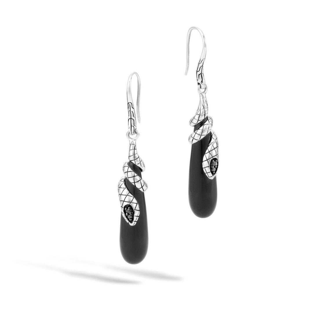 Legends Cobra Drop Earring in Silver with Gemstone