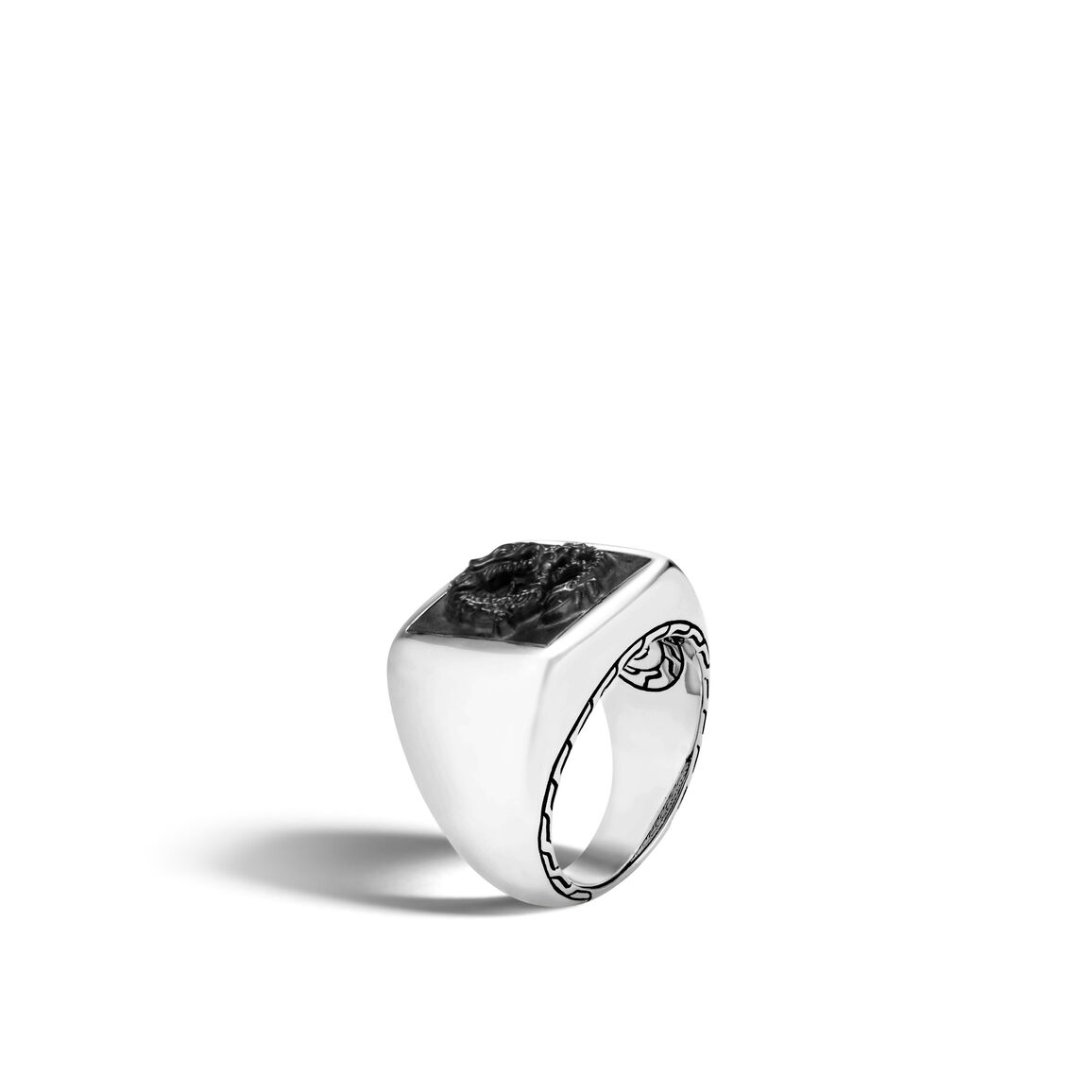Legends Naga Signet Ring in Silver with Gemstone