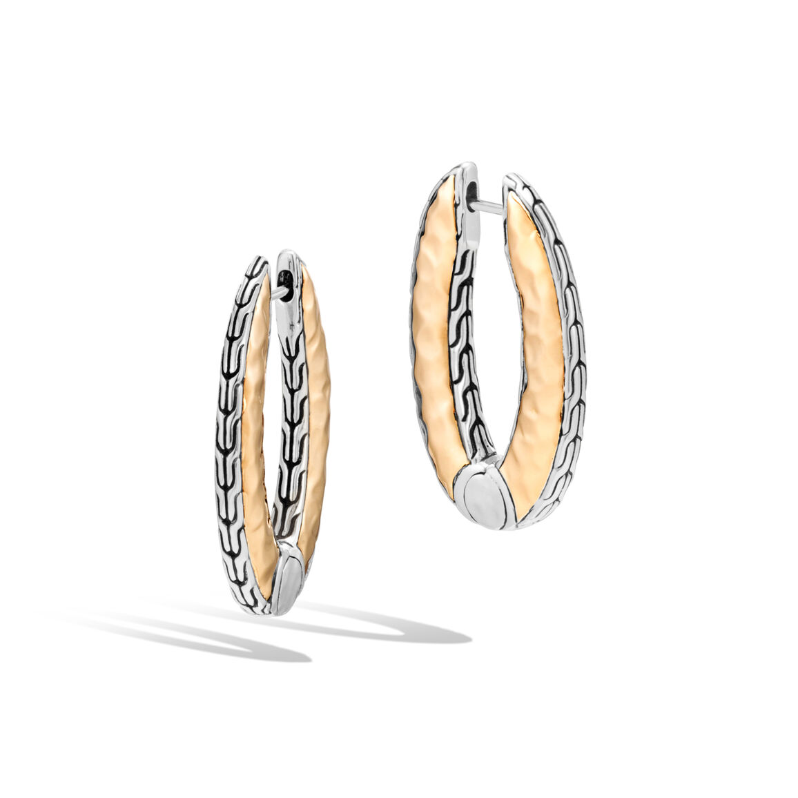 Classic Chain SM Hammered Reversible Hoop, Silver, 18K Gold