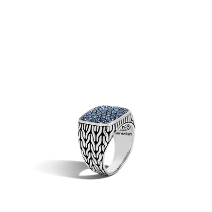 Classic Chain Signet Ring in Silver with Gemstone