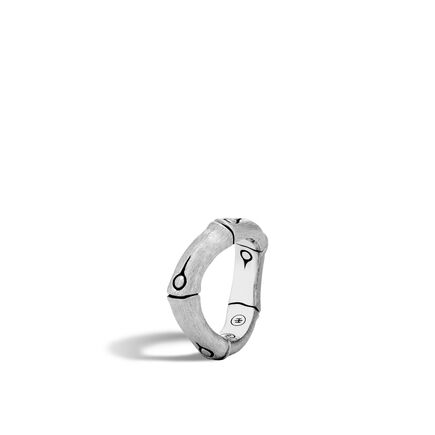 Bamboo 6MM Curved Band Ring in Brushed Silver