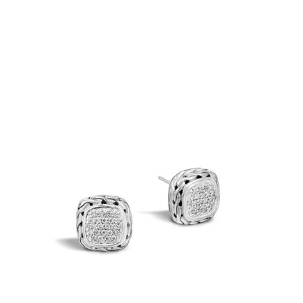 Classic Chain Stud Earring in Silver with Diamonds