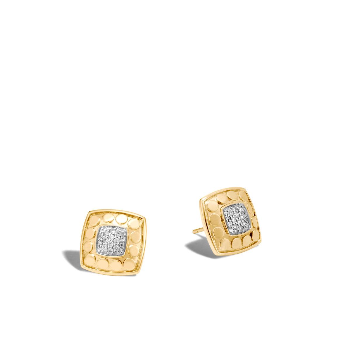 Dot Stud Earrings in 18K Gold with Diamonds