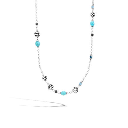 Dot Station Necklace in Silver with 10MM Gemstone