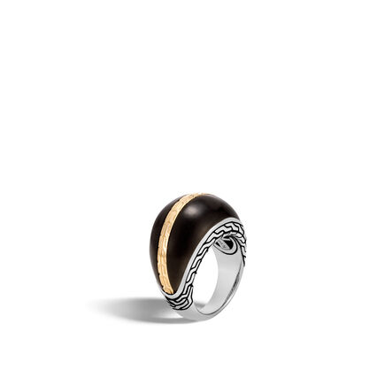 Classic Chain 16MM Dome Ring, Silver and 18K Gold with Wood