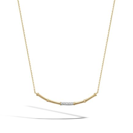 Bamboo 2MM Station Necklace in 18K Gold with Diamond