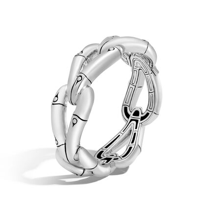 Bamboo 21.5MM Hinged Bangle in Silver