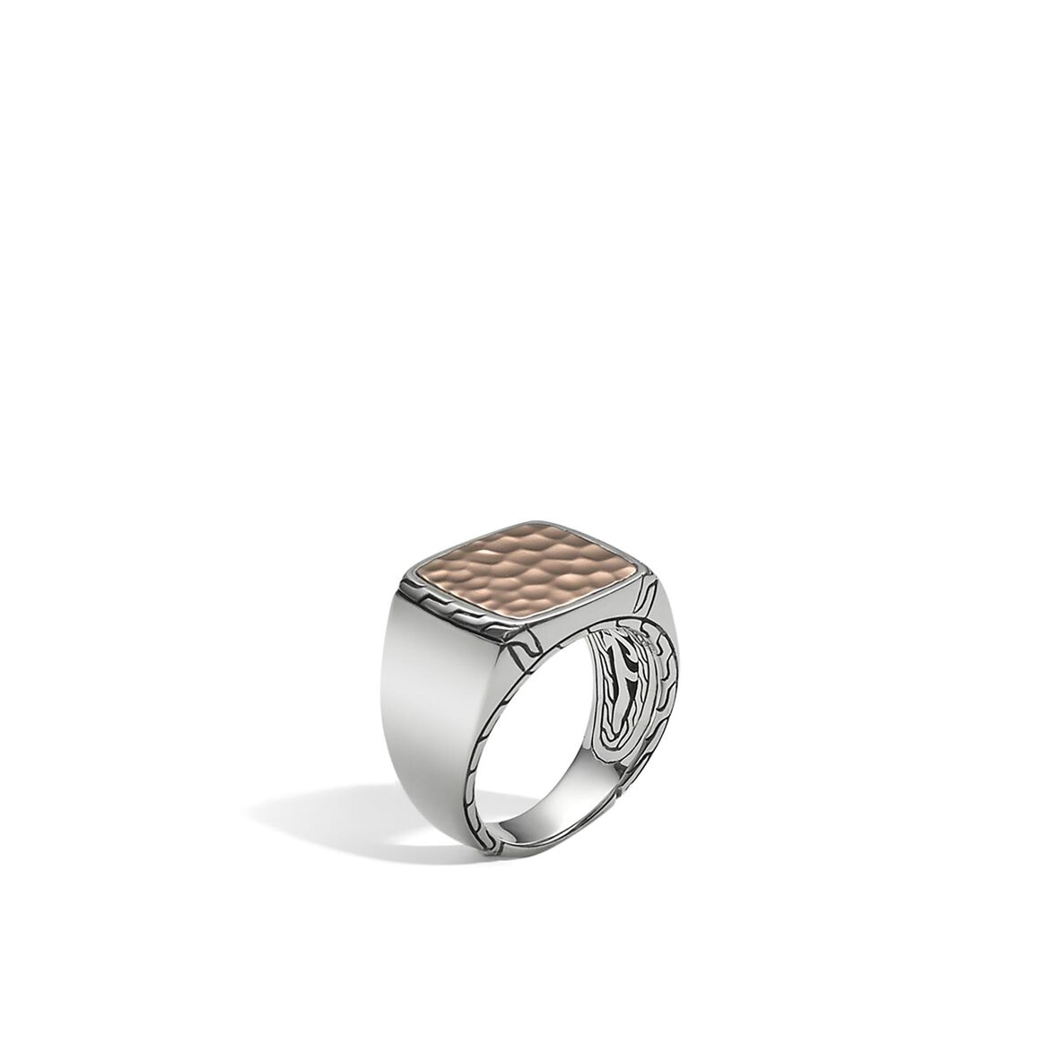 Classic Chain Signet Ring in Silver and Hammered Bronze