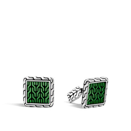 Classic Chain Cufflinks in Silver with Transparent Enamel