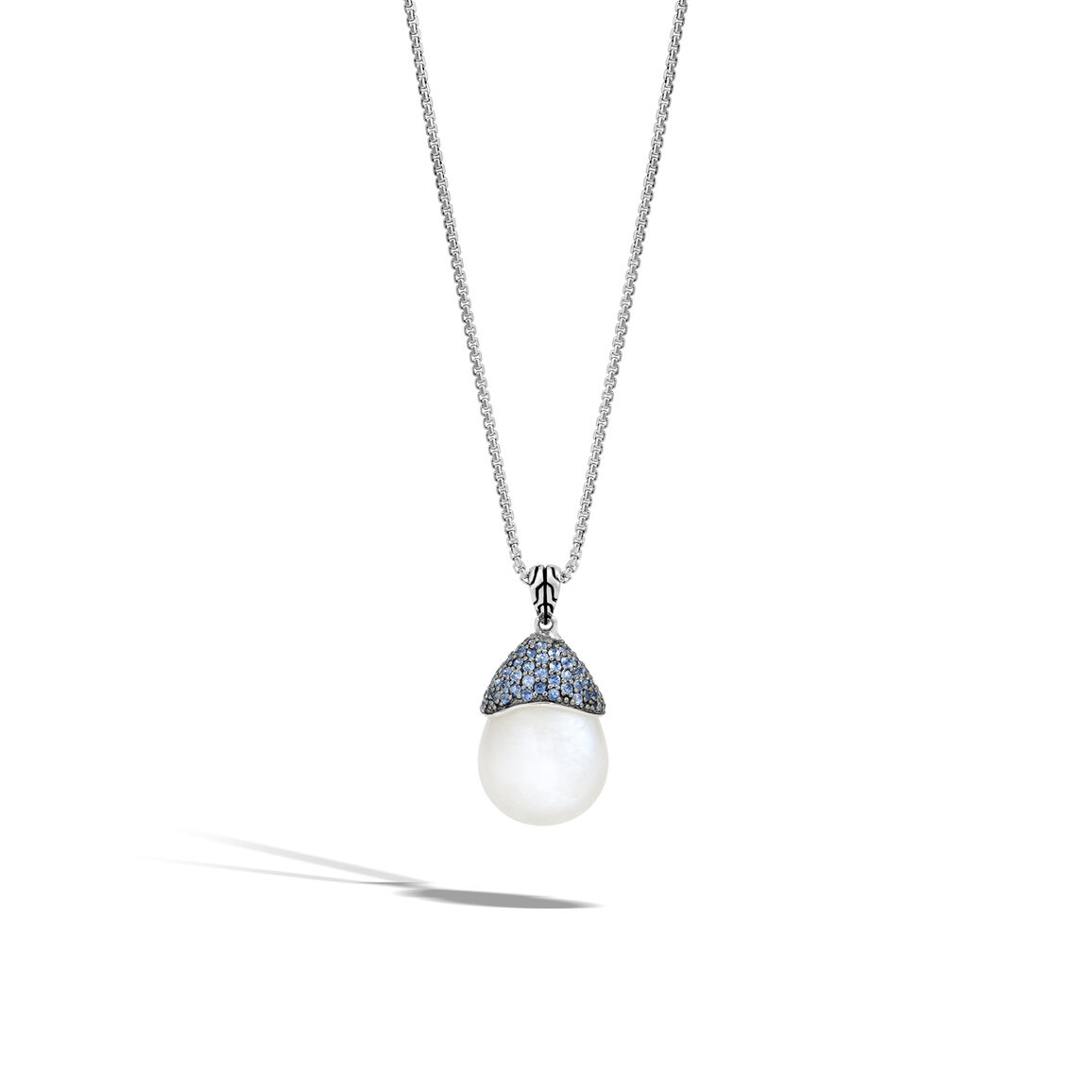 Classic Chain Celestial Orb Pendant, Silver, 19x6MM Gemstone