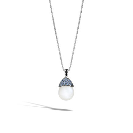 Classic Chain Celestial Orb Pendant, Silver, 19x16MM Gemstone