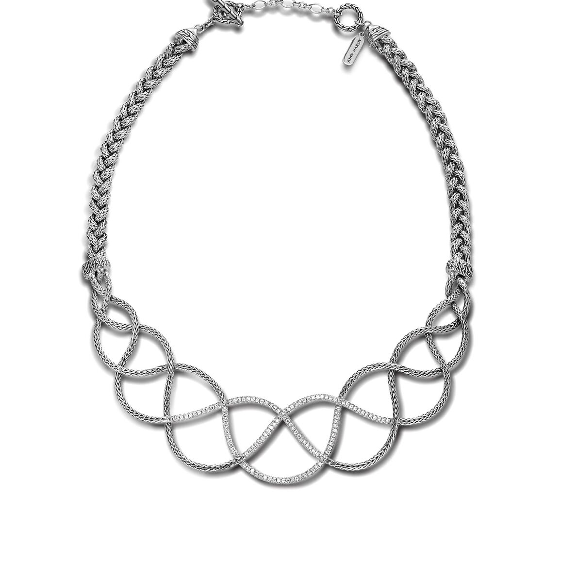 Woven Braided Necklace with Diamonds