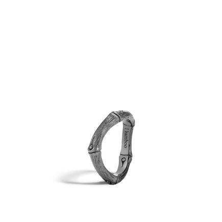 Bamboo 4MM Curved Band Ring in Blackened Brushed Silver